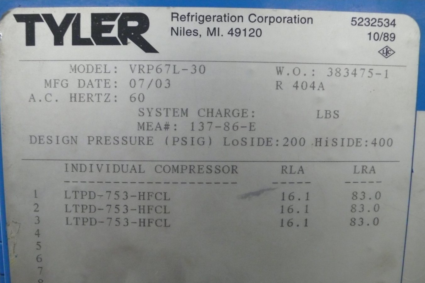 Refrigeration Tyler Rack Refrigeration