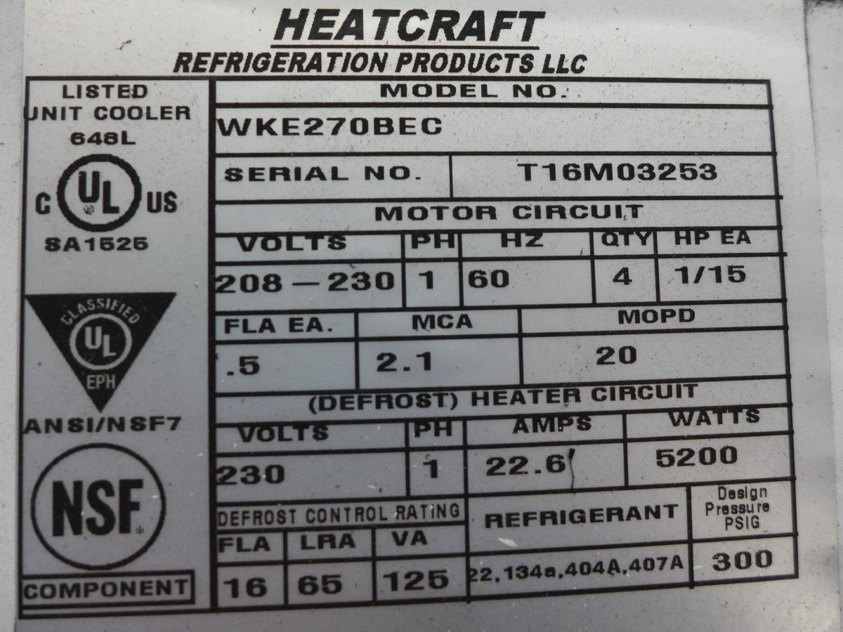 Details about NEW Bohn WKE270BEC 4-Fan 27000 BTU Electric Defrost Walk In  Cooler Coil Meat